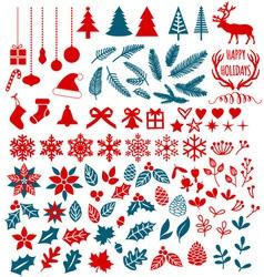 Christmas design elements set vector image vector image