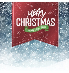 christmas red label on falling snow background vector image
