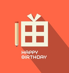 Flat Design Happy Birthday with Gift Box vector image vector image
