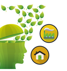 head think green environment house factory vector image