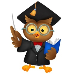 Owl cartoon wearing a graduation uniform giving a vector