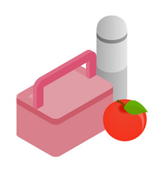 Pink lunch box red apple and thermos icon vector image vector image
