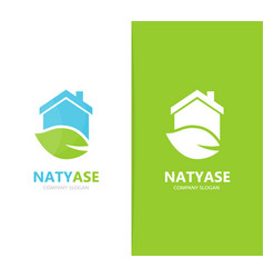 real estate and leaf logo combination vector image vector image