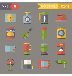 Retro Flat Household Icons and Symbols Set vector image