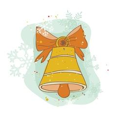 vintage christmas bell card - for scrapbook design vector image