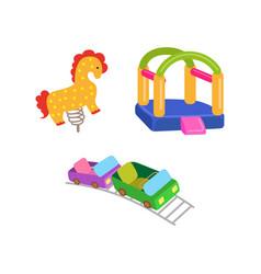 amusement park objects icon set vector image