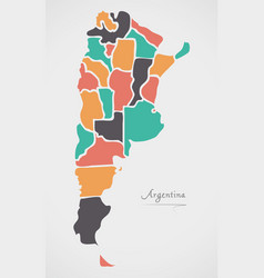 argentina map with states and modern round shapes vector image vector image