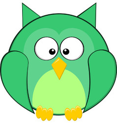 Cute Fat Rounded Green Owl Cartoon Animal vector image