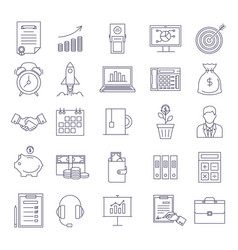 office outline icons set vector image