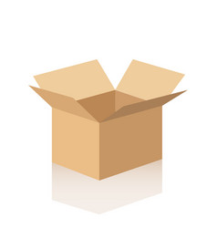 open cardboard box with reflection vector image