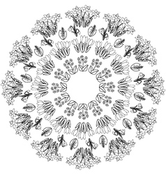 Spring floral mandala coloring book black and vector