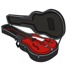 the classical red electric guitar in a case vector image vector image