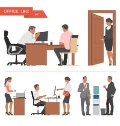 Flat design of business people and office workers vector image