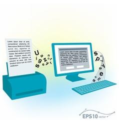 pc computer monitor keyboard printed text blank vector image vector image