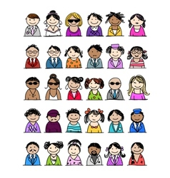 Set of people icons for your design vector image