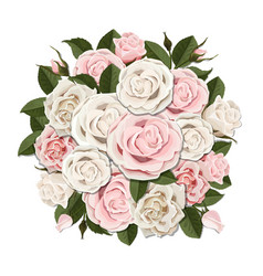 white and pink roses bouquet vector image vector image