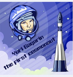 yuri gagarin was the first spaceman vector image