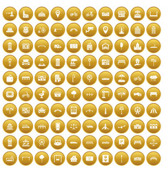 100 city icons set gold vector