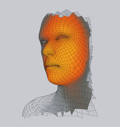 3d geometric face design human head wire model vector image