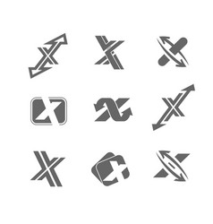 Abstract icons letter x vector