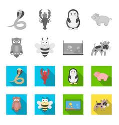 an unrealistic monochromeflat animal icons in set vector image