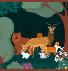 animals in te forest cartoons vector image