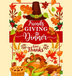 Autumn holiday friendsgiving day dinner dishes vector