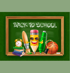 back to school horizontal cheerful banner with vector image