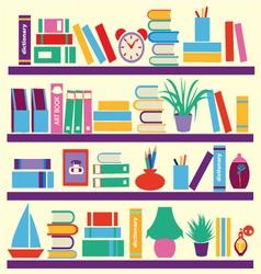 Background books on bookshelves vector
