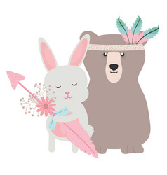 bear grizzly and rabbit with feathers hat and vector image
