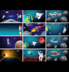 Big space scene set vector