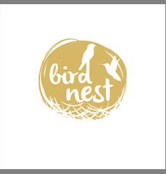 Bird nest logo design vector