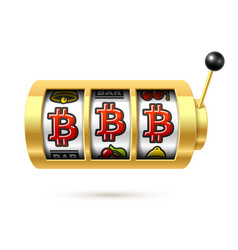Bitcoin jackpot on slot machine cryptocurrency vector