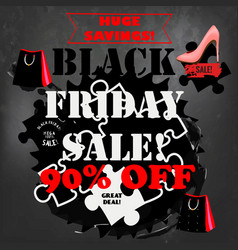 black friday sale poster on a chalk board vector image