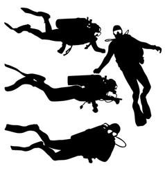 Black set silhouette scuba divers on a white vector
