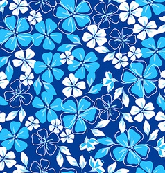 Blue and white floral seamless pattern vector