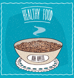 Bowl of oatmeal with sugar vector