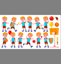 boy kindergarten kid poses set happy vector image