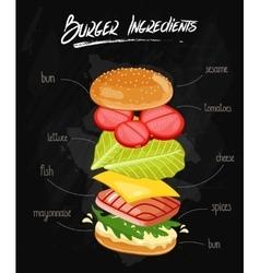 Burger Ingredients on Chalkboard vector image