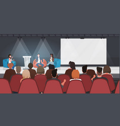 Business people sitting on bean bags giving speech vector