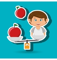Cartoon boy food fruit balance vector