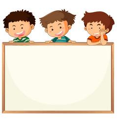 Children on whiteboard template vector