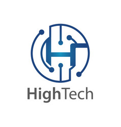 circle technology initial letter h logo concept vector image