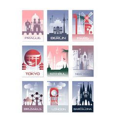 City cards set landscape template of flyer vector