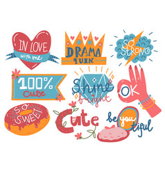 Collection of trendy girlish prints design vector