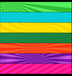 comic page colorful horizontal banners vector image