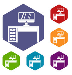 Computer desk workplace icons set vector