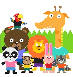 Cute animal kids vector image