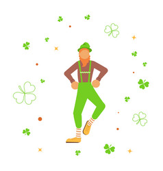 cute cartoon leprechaun dancing amongst shamrock vector image