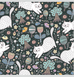 cute cat in forest seamless pattern vector image